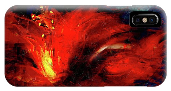 Hibiscus Flower iPhone Case - In Red Abstract Hibiscus by Shanina Conway