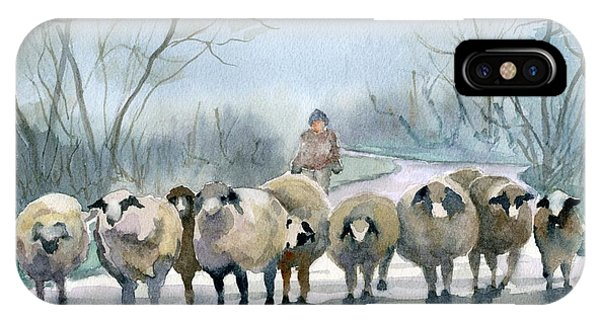 Sheep iPhone Case - In The Morning Mist by Marsha Elliott