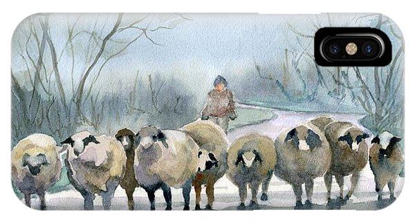 Sheep iPhone X / XS Case - In The Morning Mist by Marsha Elliott