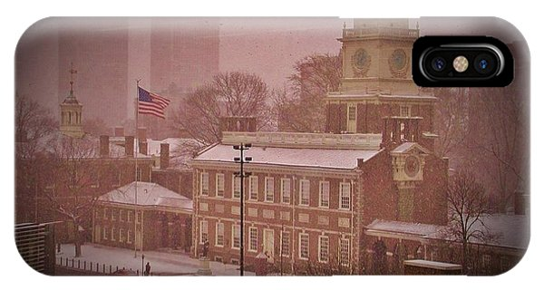 Independence Hall In The Snow IPhone Case