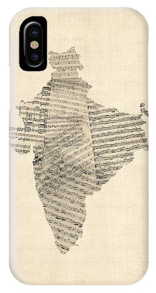 India Map, Old Sheet Music Map Of India IPhone Case