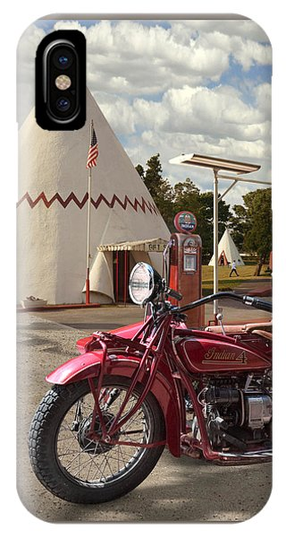 Gas Station iPhone Case - Indian 4 Motorcycle With Sidecar by Mike McGlothlen