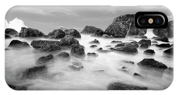Indian Beach, Ecola State Park, Oregon, In Black And White IPhone Case