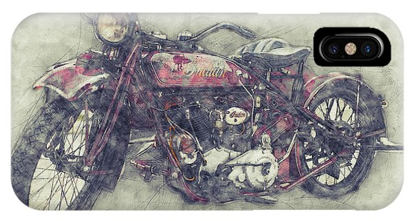 Indian Chief 1 - 1922 - Vintage Motorcycle Poster - Automotive Art IPhone Case