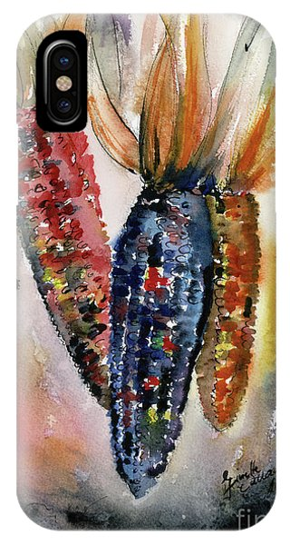 IPhone Case featuring the painting Indian Corn Food Art Watercolor by Ginette Callaway