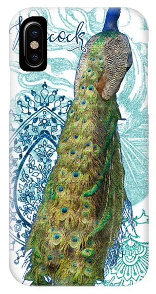 Peafowl iPhone Case - Indian Peacock Henna Design Paisley Swirls by Audrey Jeanne Roberts