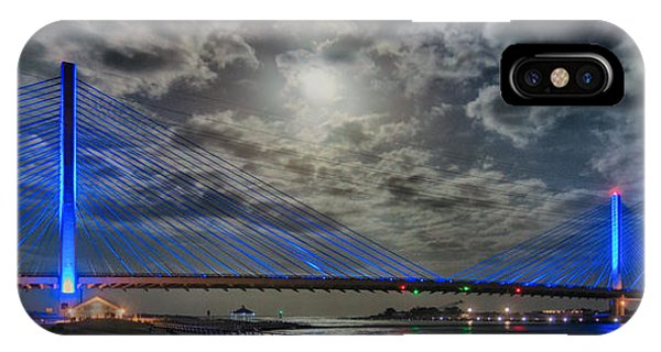 Indian River Bridge Moonlight Panorama IPhone Case