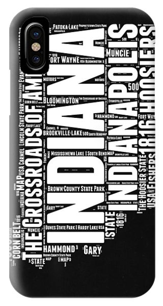 Indiana Black And White Word Cloud Map IPhone Case