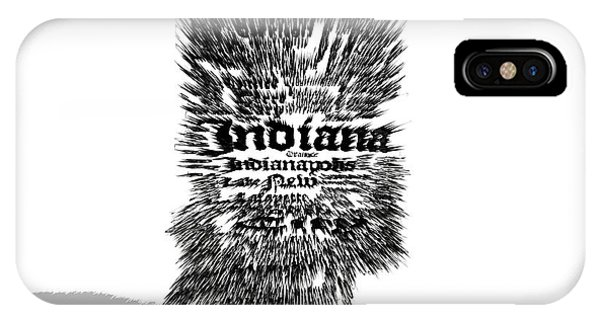 Crossroads Of The World iPhone Case - Indiana Typographic Map 5a by Brian Reaves