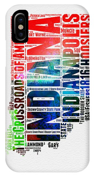 Midwest iPhone Case - Indiana Watercolor Word Cloud Map  by Naxart Studio