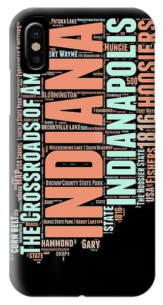 Midwest iPhone Case - Indiana Word Cloud Map 1 by Naxart Studio