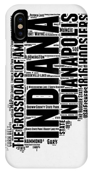 Midwest iPhone Case - Indiana Word Cloud Map 2 by Naxart Studio