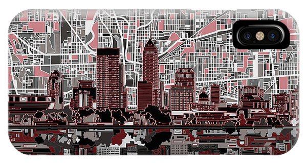Indianapolis Skyline Abstract 1 IPhone Case