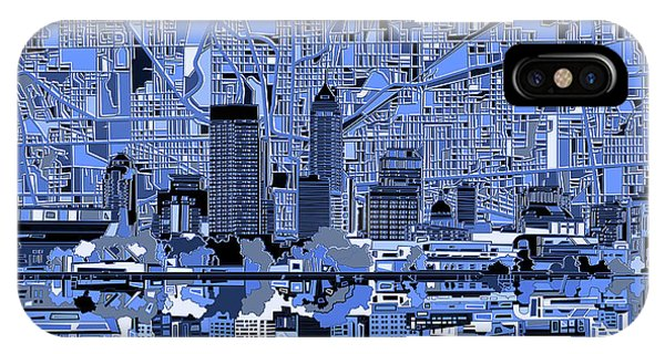 Indianapolis Skyline Abstract 7 IPhone Case