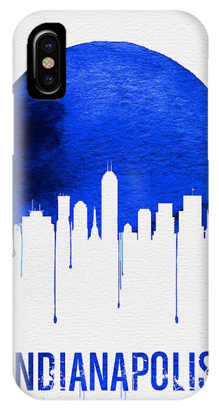 Midwest iPhone Case - Indianapolis Skyline Blue by Naxart Studio