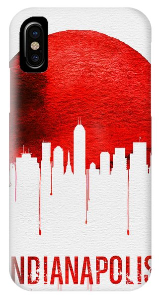 Midwest iPhone Case - Indianapolis Skyline Red by Naxart Studio