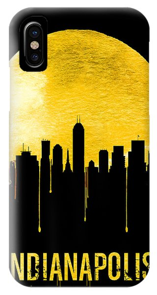 Midwest iPhone Case - Indianapolis Skyline Yellow by Naxart Studio
