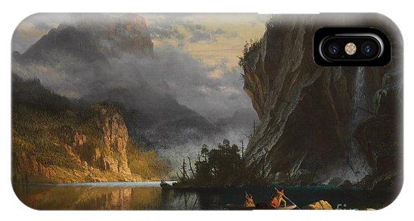 Mountainous iPhone Case - Indians Spear Fishing by Albert Bierstadt