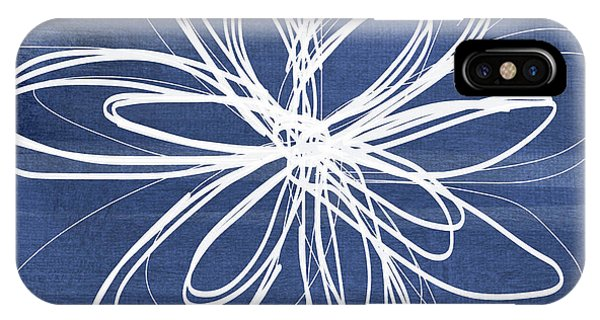 Blue And White iPhone Case - Indigo And White Flower- Art By Linda Woods by Linda Woods