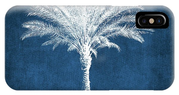 Palm Trees iPhone Case - Indigo And White Palm Tree- Art By Linda Woods by Linda Woods
