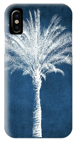 Palm Tree iPhone X Case - Indigo And White Palm Tree- Art By Linda Woods by Linda Woods