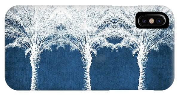 Palm Trees iPhone Case - Indigo And White Palm Trees- Art By Linda Woods by Linda Woods