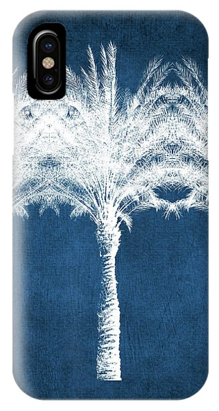 Palm Tree iPhone X Case - Indigo And White Palm Trees- Art By Linda Woods by Linda Woods