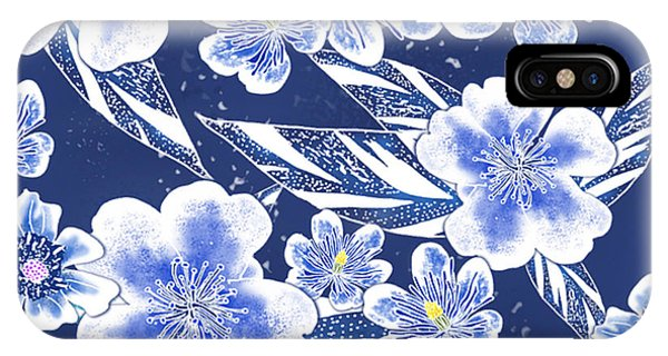 Indigo Batik Camellia Ginger - 12 IPhone Case
