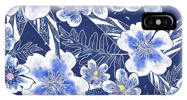 Indigo Batik Tile 1 - Camellia IPhone Case