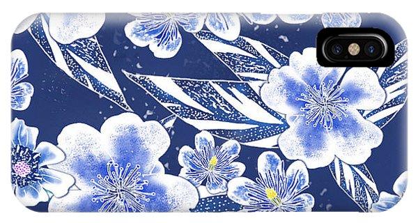 Indigo Batik Tile 2 - Ginger Leaves IPhone Case