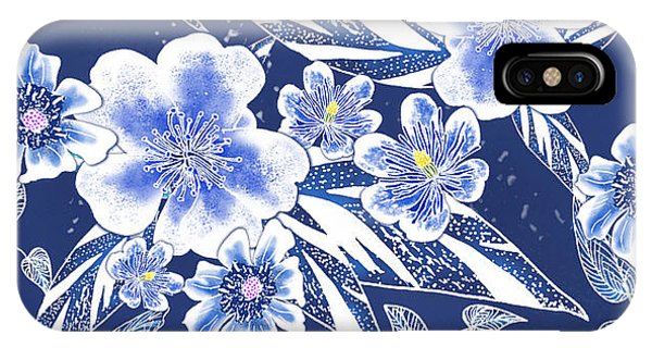 Indigo Batik Tile 2 - Ginger Leaves IPhone Case