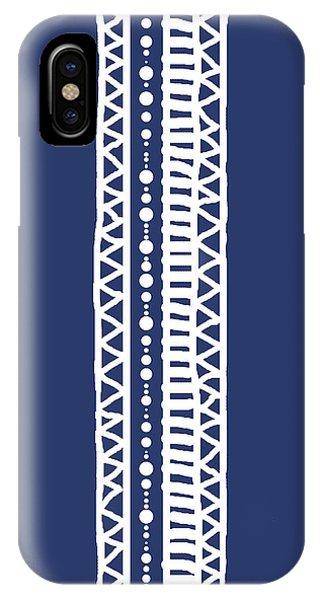 Indigo Batik Tribal Stripe IPhone Case