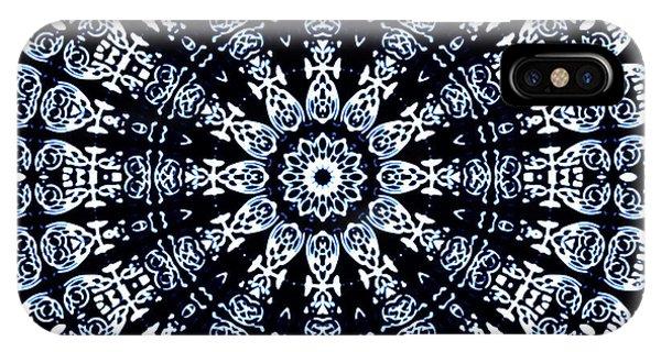 IPhone Case featuring the digital art Indigo Flow Blue Kaleidoscope by Joy McKenzie