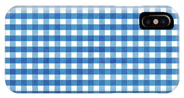 Blue And White iPhone Case - Indigo Gingham- Design By Linda Woods by Linda Woods