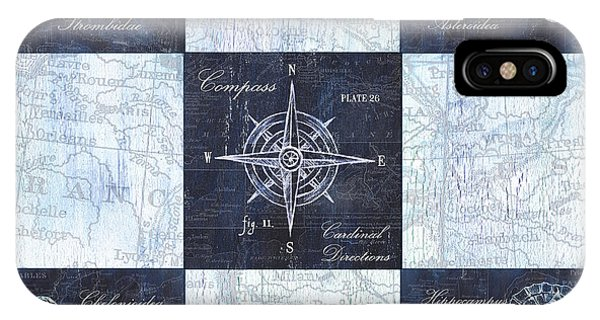 Fins iPhone Case - Indigo Nautical Collage by Debbie DeWitt