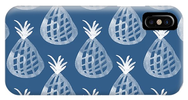 Print iPhone Case - Indigo Pineapple Party by Linda Woods