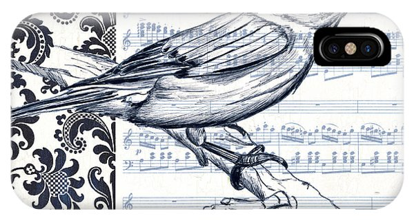 Colorful Bird iPhone Case - Indigo Vintage Songbird 1 by Debbie DeWitt