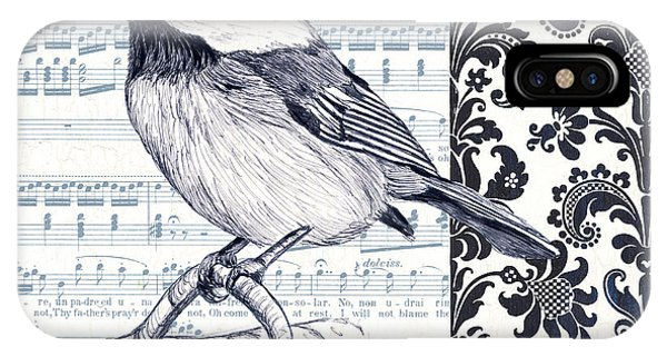 Colorful Bird iPhone Case - Indigo Vintage Songbird 2 by Debbie DeWitt