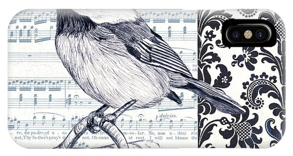 Bird iPhone Case - Indigo Vintage Songbird 2 by Debbie DeWitt