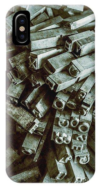 Technology iPhone Case - Industrial Letterpress Typeset  by Jorgo Photography - Wall Art Gallery