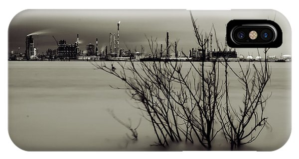 Industry On The Mississippi River, In Monochrome IPhone Case