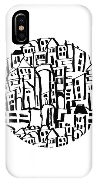 Interior iPhone Case - Inky Village Sketch Ball- Art By Linda Woods by Linda Woods
