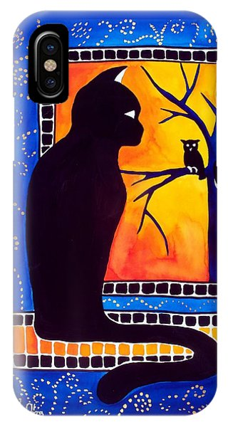 Insomnia - Cat And Owl Art By Dora Hathazi Mendes IPhone Case