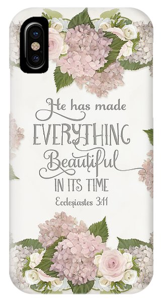 Inspirational Scripture - Everything Beautiful Pink Hydrangeas And Roses IPhone Case