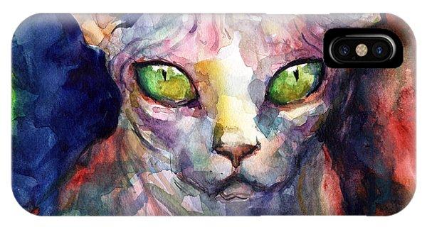 iPhone Case - intense watercolor Sphinx cat painting by Svetlana Novikova