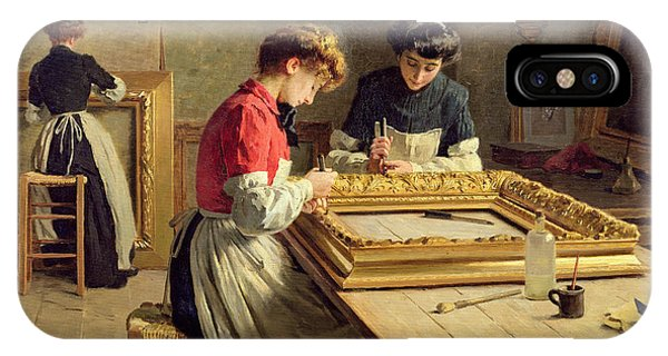 Factory iPhone Case - Interior Of A Frame Gilding Workshop by Louis Emile Adan
