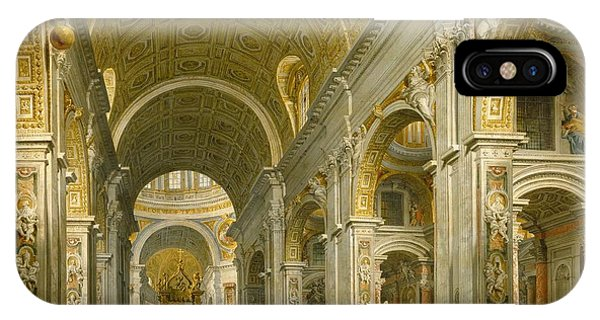 Christianity iPhone Case - Interior Of St. Peter's - Rome by Giovanni Paolo Panini