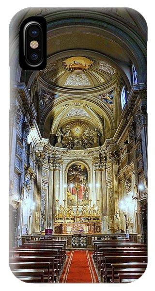 Interior View Of Santi Vincenzo E Anastasio A Fontana Di Trevi In Rome Italy IPhone Case