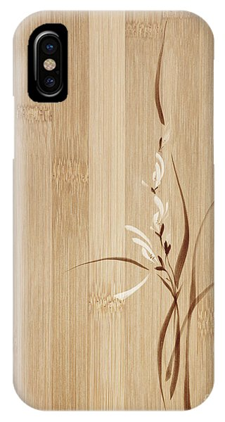 Simple iPhone Case - Intricate Orchid Flowers Artistic Floral Design On Wooden Backgr by Awen Fine Art Prints