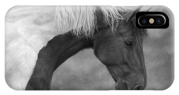 White Horse iPhone Case - Intrigued - Black And White by Lucie Bilodeau